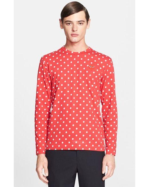 Comme des Garçons | Red Dot Print Long Sleeve Crewneck T-shirt for Men | Lyst