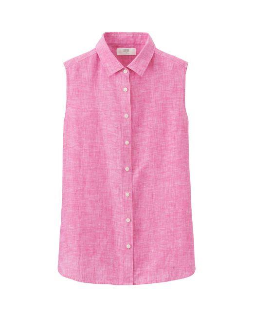 Uniqlo women 39 s premium linen sleeveless shirt in pink for Uniqlo premium t shirt