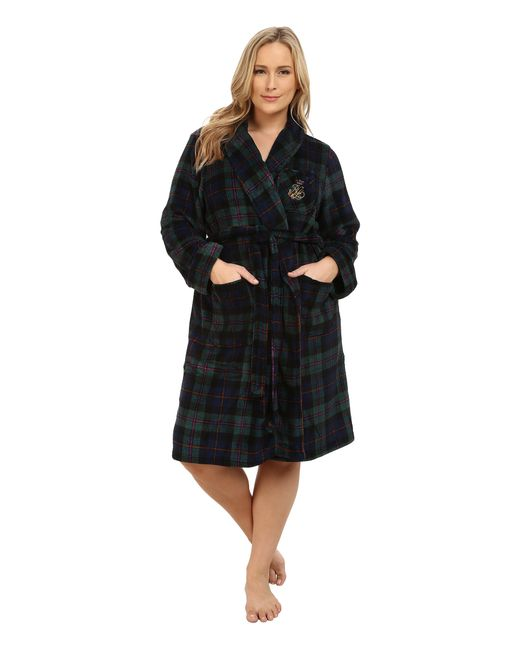 Lauren by Ralph Lauren | Green Plus Size Folded So Soft Terry Short Robe | Lyst