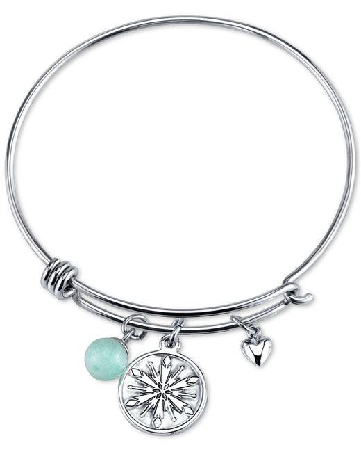 Disney | Metallic Frozen Snowflake Amazonite Charm Bracelet In Stainless Steel | Lyst