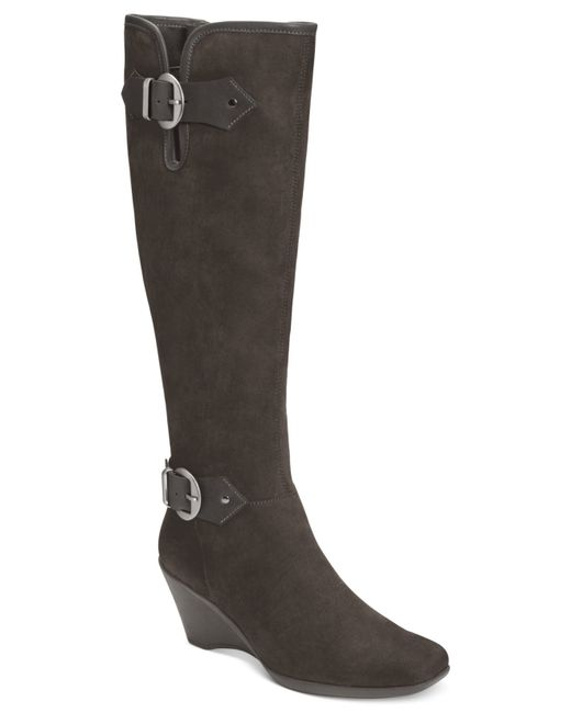 Aerosoles | Black Wonderful Tall Wedge Boots | Lyst