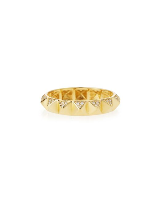 Sydney Evan | Yellow 14k Pave Diamond Pyramid Eternity Band Ring | Lyst