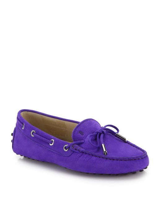 Tod's | Purple Gommini Tie-front Nubuck Leather Drivers | Lyst