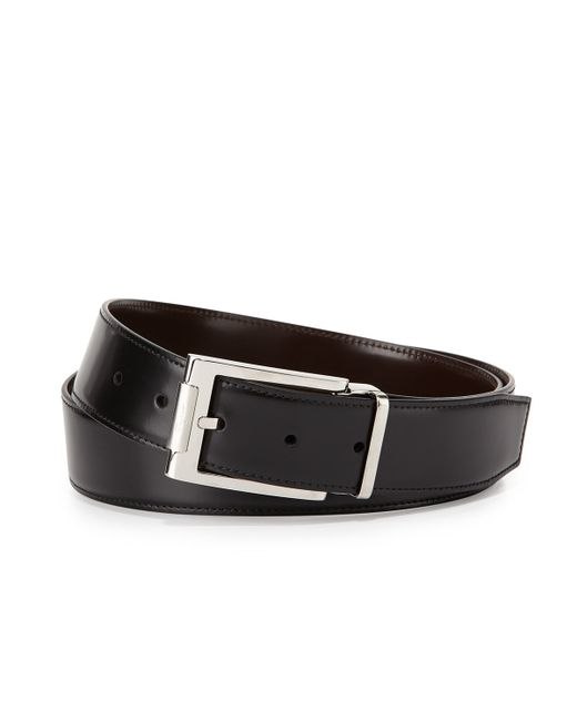 Leather buckle dress belt in black for men black lt brown lyst