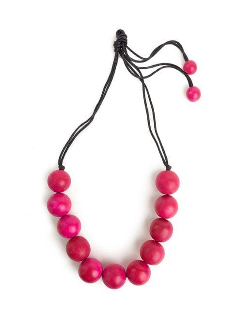 Natori | Josie Large Wood Bead Necklace - Rose Pink | Lyst