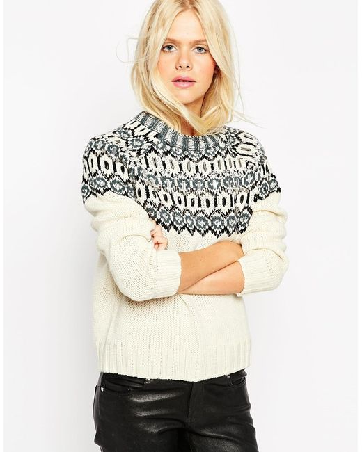 Asos christmas jumper in pattern with embellishment in multicolor