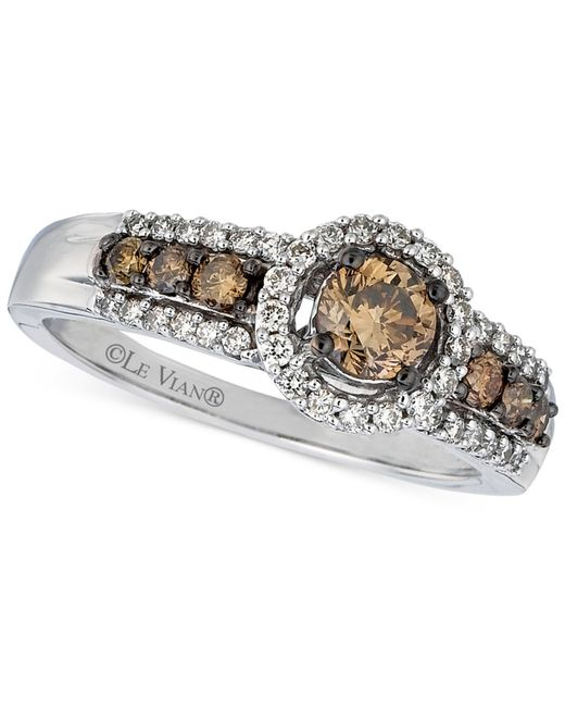 Le Vian | Metallic Chocolate And White Diamond Deco Ring (5/8 Ct. T.w.) In 14k Gold | Lyst