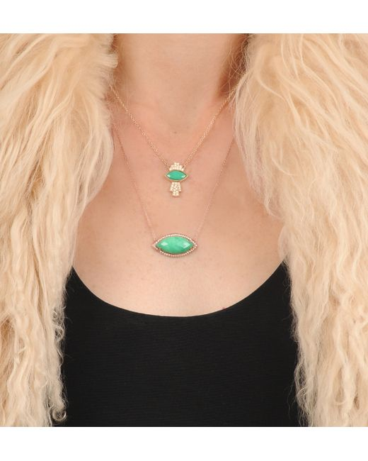 Jacquie Aiche | Green Medium Marquise Bezel Necklace | Lyst