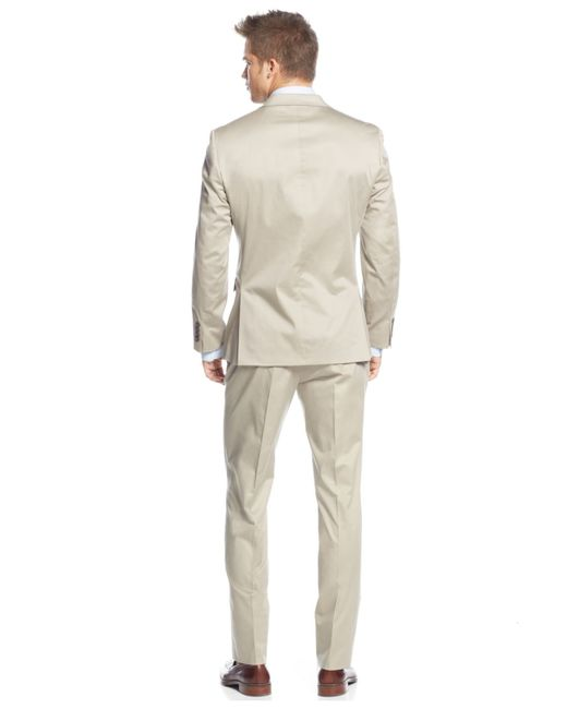 Calvin klein x fit solid tan extra slim fit suit in beige for Calvin klein x fit dress shirt