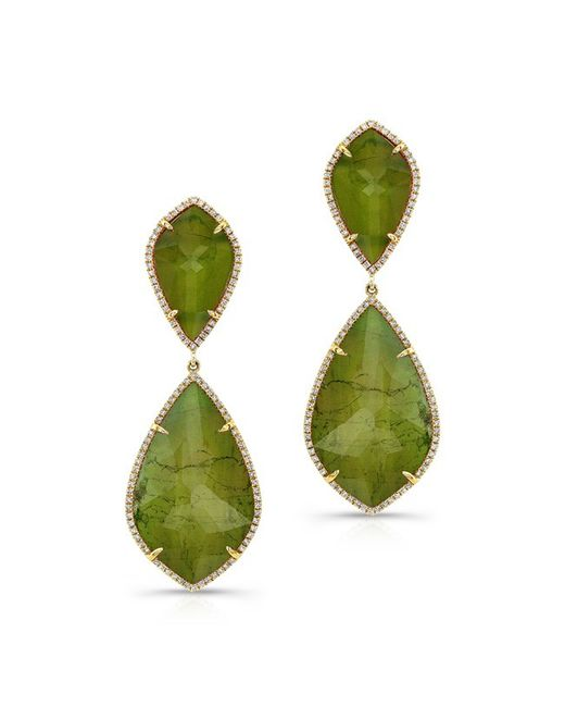 Anne Sisteron | Metallic 14kt Yellow Gold Yellow Green Tourmaline Diamond Rose Cut Earrings | Lyst