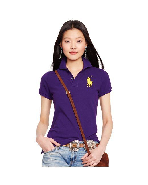 Polo Ralph Lauren | Purple Skinny-fit Big Pony Polo Shirt | Lyst