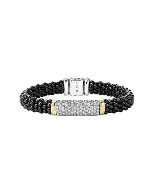 Lagos   'black Caviar' Diamond Rope Bracelet   Lyst