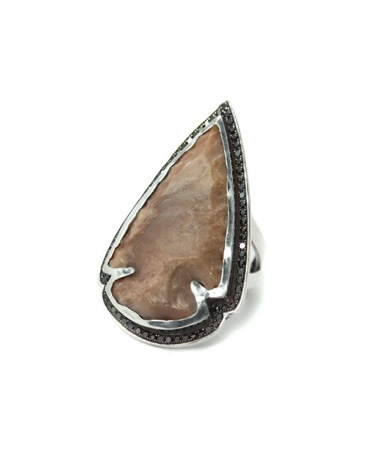Pamela Love | Natural Jasper Black Diamond Ring - Size 7 | Lyst
