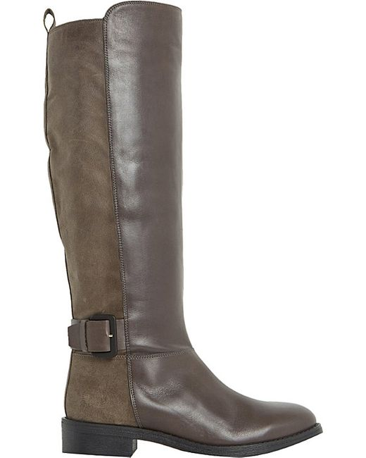 dune tinsley leather knee high buckle boots in gray grey