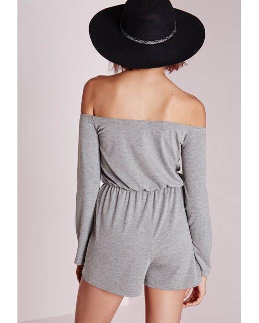 Missguided | Gray Jersey Bardot Romper Grey | Lyst