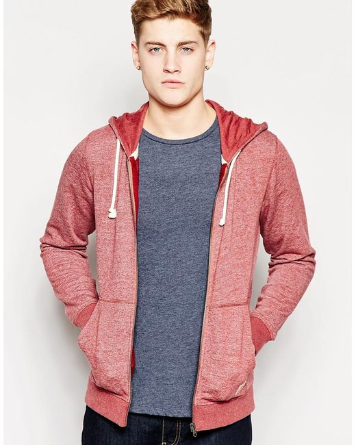 jack jones zip up hoodie in purple for men burgundy lyst. Black Bedroom Furniture Sets. Home Design Ideas