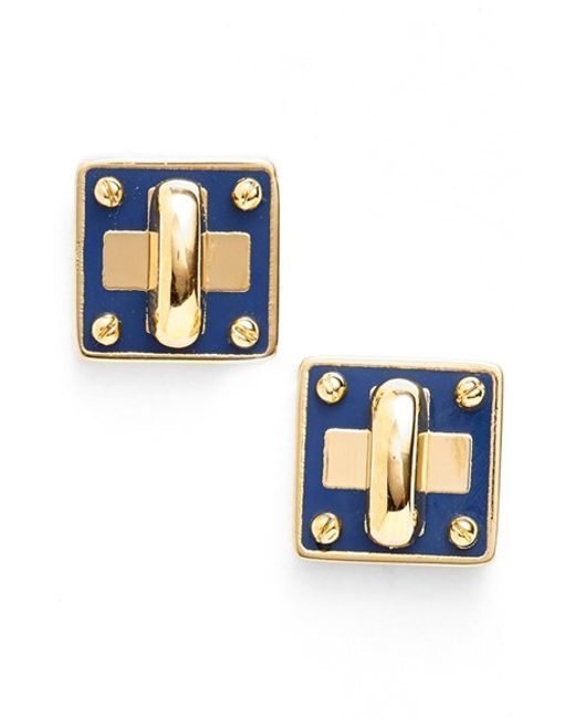 Marc By Marc Jacobs | Blue 'turnlock' Enamel Stud Earrings | Lyst