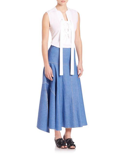 derek lam handkerchief denim skirt in blue bright blue