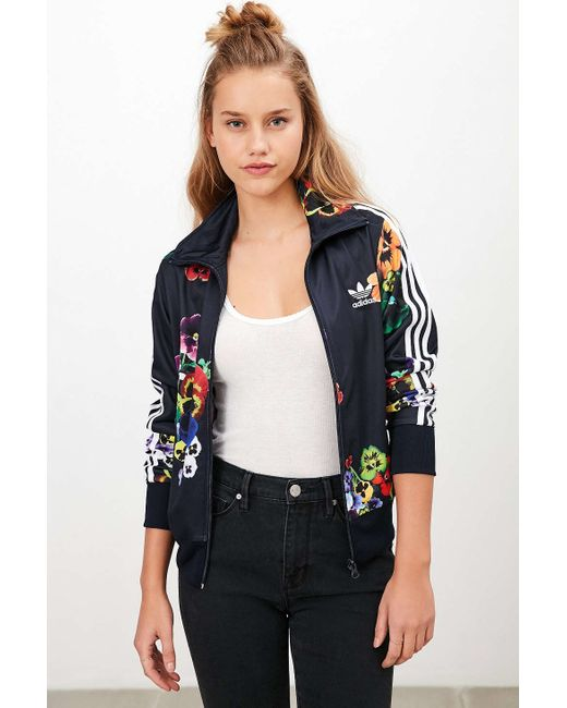 Adidas originals firebird crepe tracksuit jacket in floral for Adidas floral shirt urban outfitters