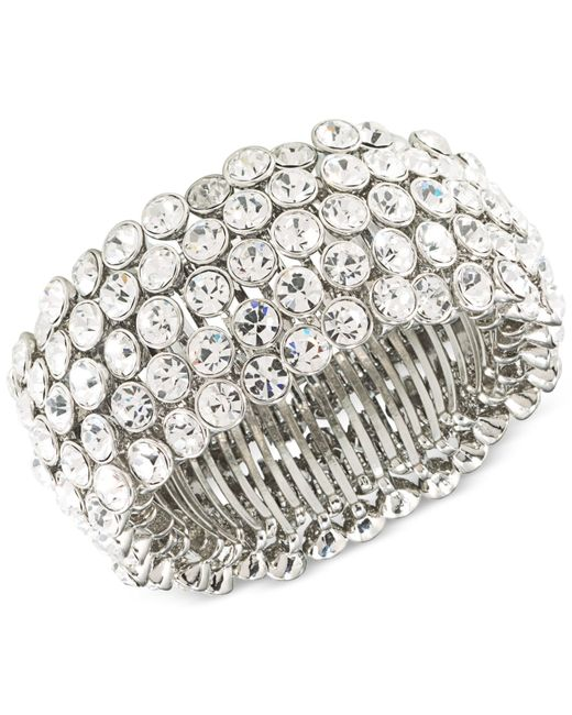 Carolee | Metallic Silver-tone Crystal Stretch Bracelet | Lyst