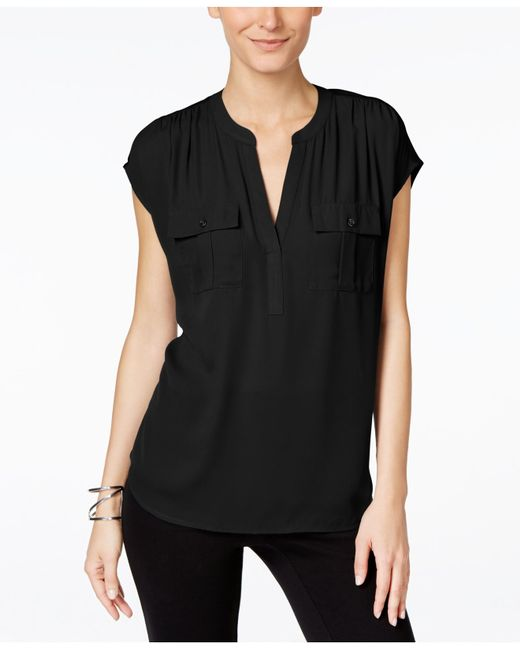 INC International Concepts | Black Mixed-media Utility Shirt, Only At Macy's | Lyst
