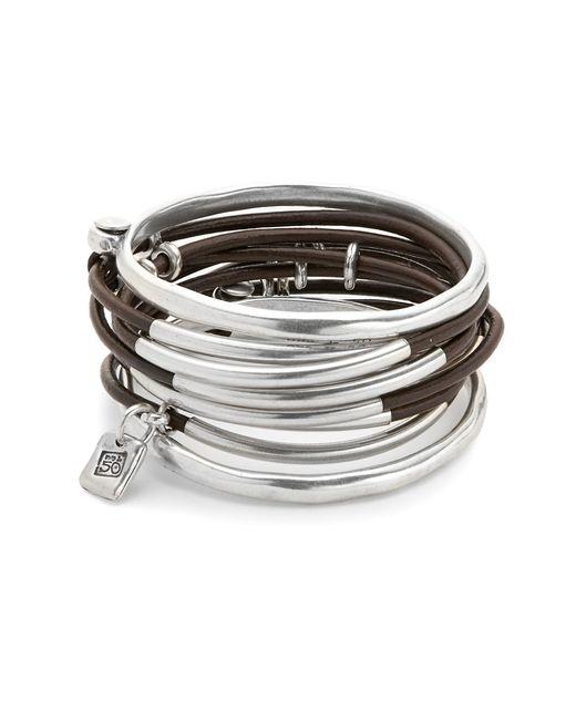 Uno De 50 Metallic Bangle And Leather Layered Bracelet