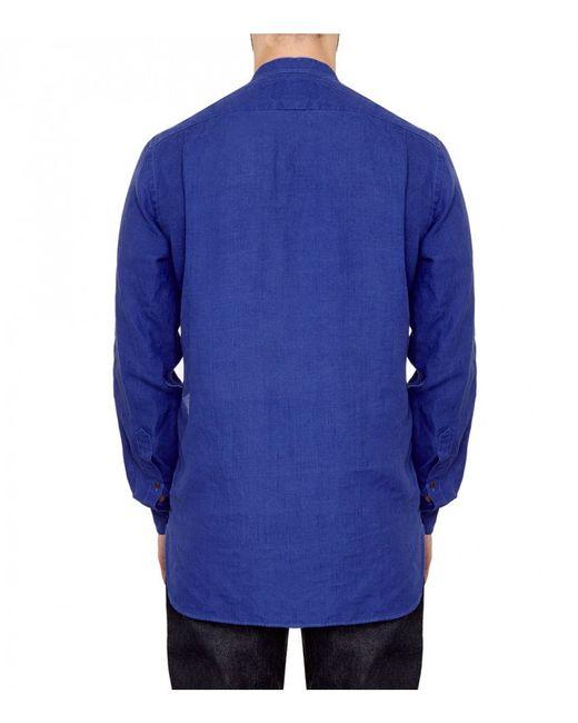 Drake 39 S Blue Linen Band Collar Shirt In Blue For Men