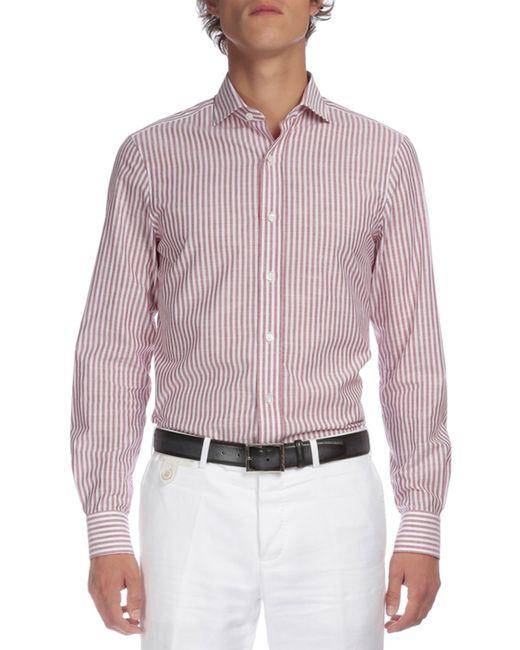 Berluti striped button down shirt in purple for men wine for Striped button down shirts for men