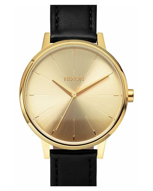nixon the kensington leather in gold black
