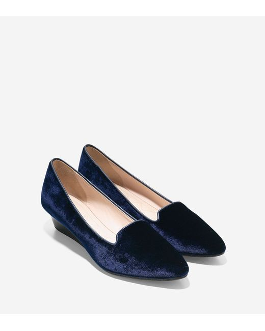 Cole Haan | Blue Tali Luxe Smoking Slipper Wedge (40mm) | Lyst