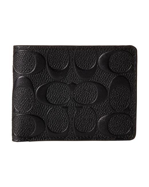 COACH   Black Double Billfold Wallet In Signature Crossgrain Leather for Men   Lyst