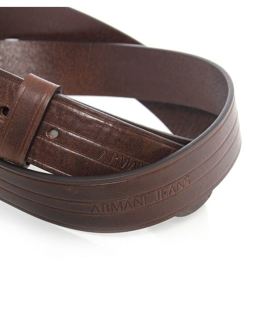 Armani Jeans   Brown Leather Logo Belt for Men   Lyst