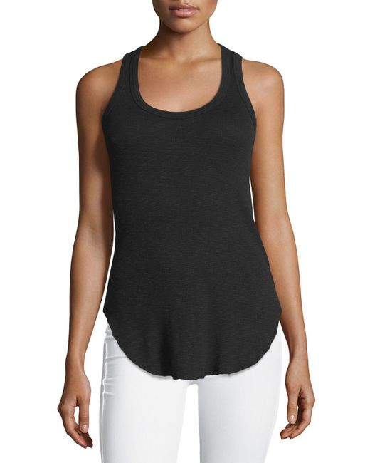 Fabric: 2x1 Rib, 50% Lenzing MicroModal®, 50% Supima Cotton: Color: White: Style: Tank Top: Weight: Lightweight: Fit: Fitted: More Colors: Black.