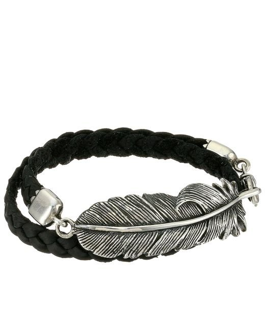 King Baby Studio | Black Double Wrap Leather Bracelet With Raven Feather | Lyst