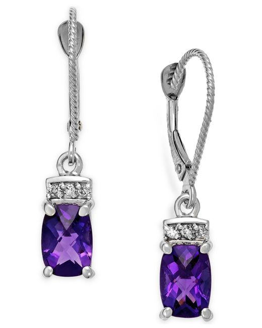 Macy's | Metallic Amethyst (1-3/4 Ct. T.w.) And Diamond Accent Earrings In 14k White Gold | Lyst