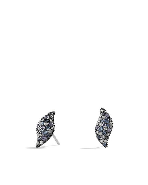 David Yurman | Hampton Cable Collection Earrings With Gray Diamonds, Blue Sapphires And Lavender Spinels | Lyst