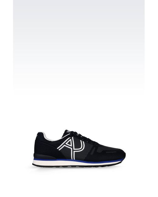 armani jeans sneaker in black for men blue lyst. Black Bedroom Furniture Sets. Home Design Ideas