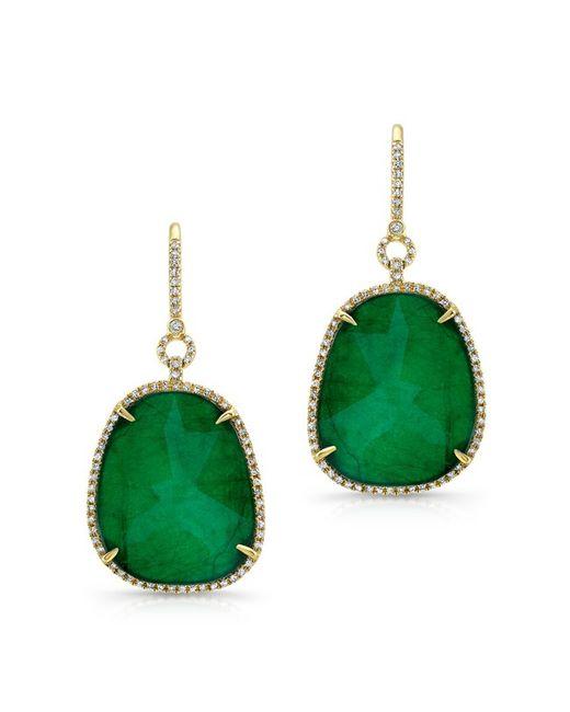 Anne Sisteron - Metallic 14kt Yellow Gold Emerald Diamond Earrings - Lyst