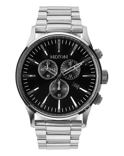 Nixon | Silver 'the Sentry' Chronograph Bracelet Watch for Men | Lyst