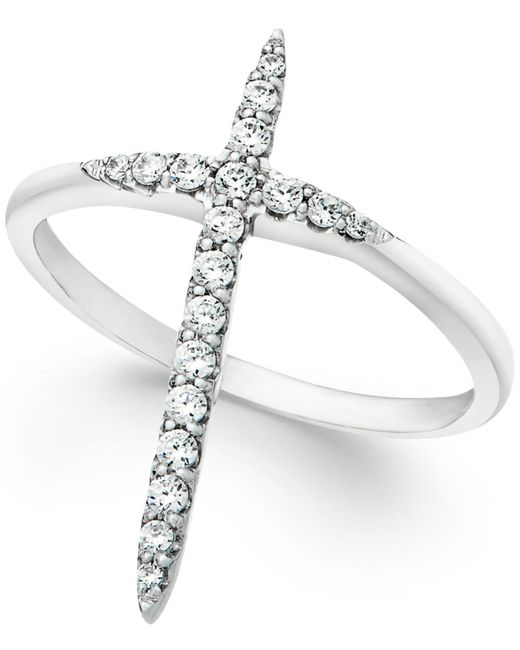 Macy's | Metallic Wrapped™ Diamond Extended Cross Ring In 10k White Gold (1/4 Ct. T.w) | Lyst