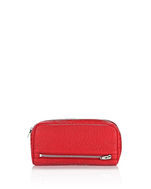 Alexander Wang | Red Fumo Continental Wallet In Pebbled Cult With Rhodium | Lyst