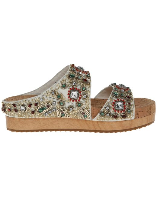 Alice + Olivia | White Alice And Olivia Brianna Embellished Platform Slide Sandals | Lyst