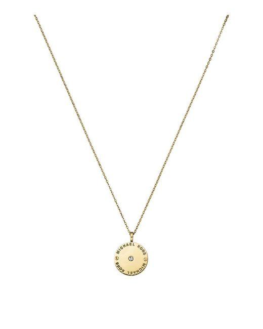 Michael Kors | Metallic Logo Disc Necklace | Lyst