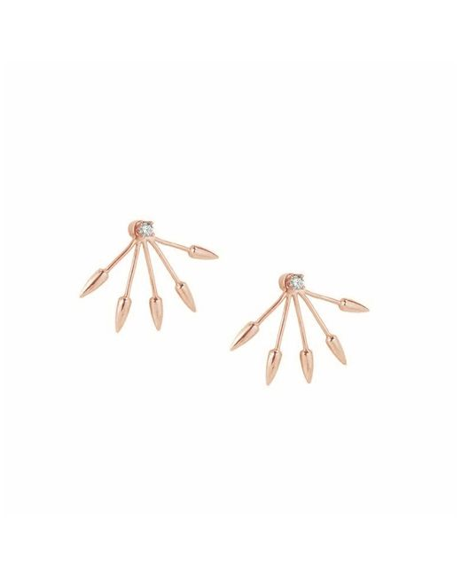 Pamela Love | Pink Five Spike 10k Rose Gold With Diamond Earrings | Lyst