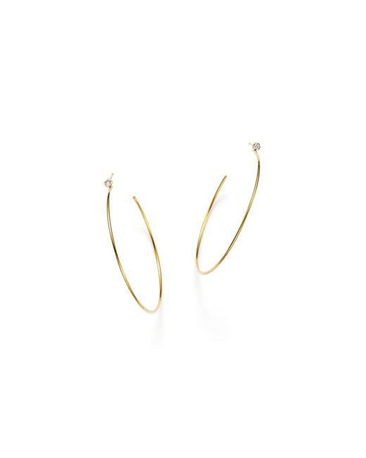 Zoe Chicco | Metallic 14k Gold Hoop Earrings With Bezel Set Diamonds | Lyst