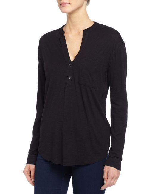 James perse long sleeve half button henley shirt in black for Black long sleeve henley shirt