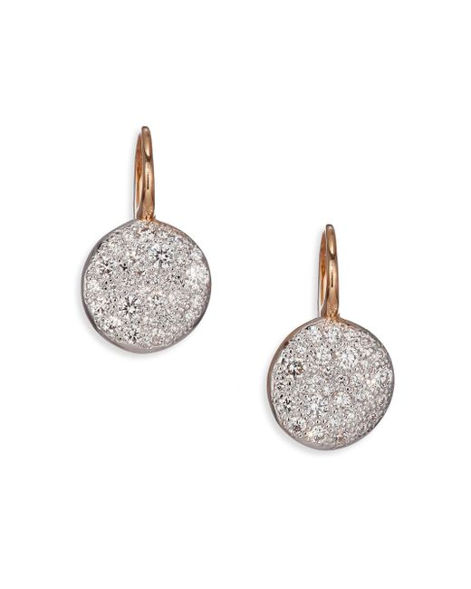 Pomellato | Pink Sabbia Diamond & 18k Rose Gold Drop Earrings | Lyst