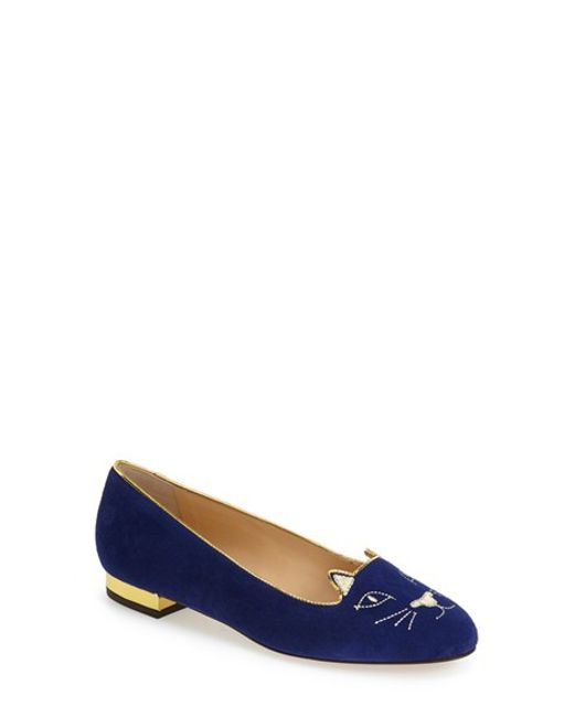 Charlotte Olympia | Black 'kitty' Suede Flat | Lyst