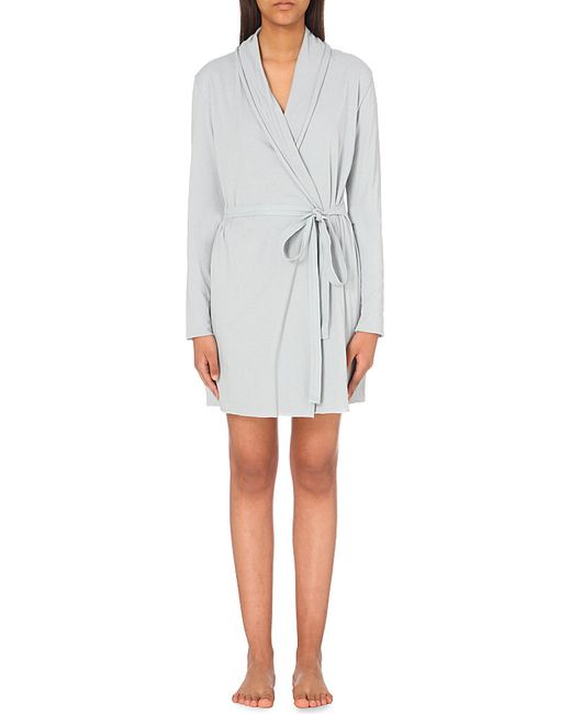 Skin   Gray Wrap Pima-cotton Robe   Lyst
