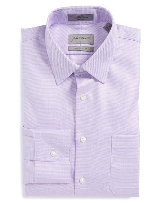 John W. Nordstrom | Purple John W. Nordstrom Traditional Fit Non-iron Houndstooth Dress Shirt for Men | Lyst